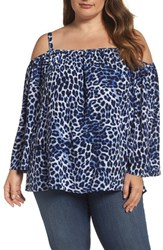 Vince Camuto Plus Size Women's Leopard Song Cold Shoulder Blouse Nile Blue