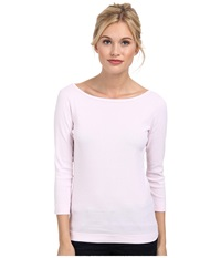 Three Dots 3 4 Sleeve British Tee Sheer Pink Women's Long Sleeve Pullover Neutral
