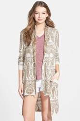 Sun And Shadow Lace Jacquard Long Cardigan Juniors Beige