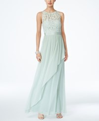 Adrianna Papell Lace Illusion Halter Gown Mint