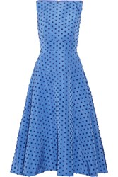 Lela Rose Flocked Silk Faille Midi Dress Blue