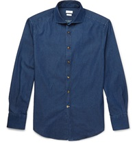 Brunello Cucinelli Garment Dyed Denim Shirt Blue