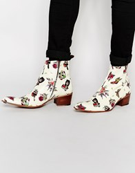 Jeffery West Zip Cuban Heel Boots Beige