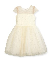 Zoe Maisie Mesh Tulle Party Dress W Pearly Beads Ivory Size 7 16