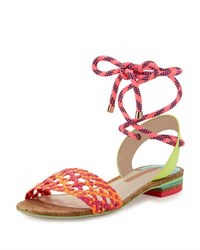 Sophia Webster Nia Woven Ankle Wrap Sandal Fluorescent Orange Magenta Fluoro Orange Mag
