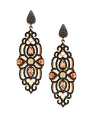 Azaara Pave Crystal Drop Earrings Gold Black
