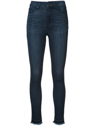 Paige 'Hoxton' Frayed Ankle Jeans Blue