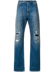 Kent And Curwen Distressed Straight Fit Jeans Blue