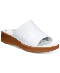 Bare Traps Rebecca Slip On Wedge Sandals Women's Shoes White Leather