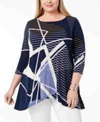 Alfani Plus Size Printed Swing Top Blue Lines