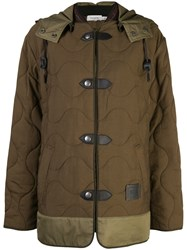 Coach Quilted Military Coat Green