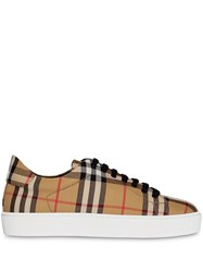 Burberry Vintage Check And Leather Sneakers Neutrals