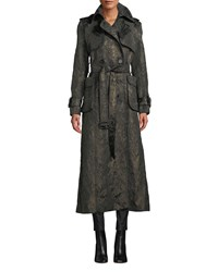 J. Mendel Double Breasted Belted Metallic Brocade Trench Coat Black