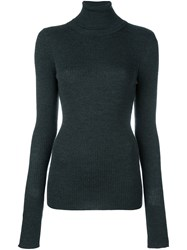 Barbara Bui Roll Neck Ribbed Pullover Grey