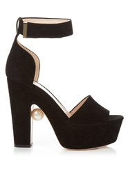 Nicholas Kirkwood Maya Pearl Embellished Block Heeled Sandals Black