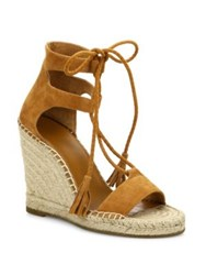 Joie Delilah Lace Up Suede Espadrille Wedge Sandals Whiskey Persimmon