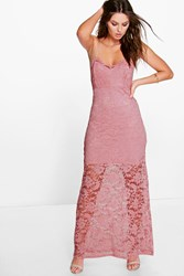 Boohoo Scallop Lace Strappy Maxi Dress Peach