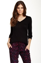 Splendid V Neck Pullover Black