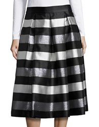 Eliza J Striped A Line Midi Skirt Black White