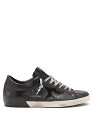 Golden Goose Superstar Distressed Leather Trainers Black