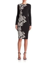 Teri Jon By Rickie Freeman Border Pattern Knit Sheath Black White