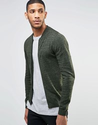 Asos Knitted Cotton Bomber Jacket In Muscle Fit Khaki And Black Twist Green
