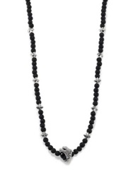 King Baby Studio Lava Rock And Black Onyx Raven Claw Beaded Necklace Silver Black