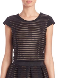 Abs By Allen Schwartz Striped Mesh Cap Sleeve Cropped Top Black