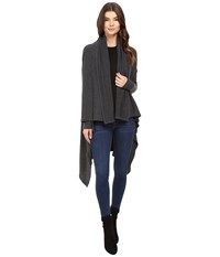 Michael Stars Super Soft Madison Rib Convertible Cape Cardigan Charcoal Women's Sweater Gray