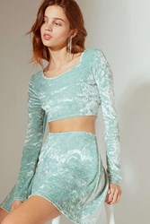 Urban Outfitters Uo Crushed Velvet Cropped Top Mint