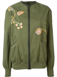 Mr And Mrs Italy Embroidered Floral Long Fit Bomber Jacket Green