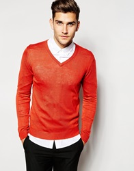 United Colors Of Benetton Knitted V Neck Jumper Red33n