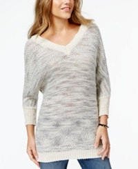 American Rag Juniors' V Neck Button Back Sweater Only At Macy's Oatmeal Combo