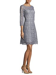 Kay Unger Floral Lace Cocktail Dress Grey