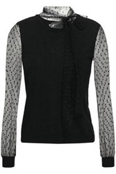 Red Valentino Redvalentino Woman Point D'esprit Paneled Cashmere And Silk Blend Top Black
