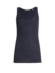 Vince Striped Pima Cotton Jersey Tank Top Navy Stripe