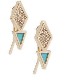 Vera Bradley Gold Tone Pave And Blue Enamel Geometric Drop Earrings