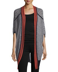 Nic Zoe Fire Trim Long Tribal Print Cardigan Women's