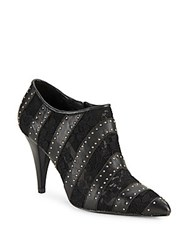 Alice Olivia Calissa Floral Lace And Leather Booties Black