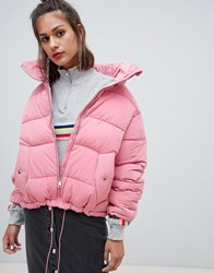 Pull And Bear Pullandbear Zip Up Puffer Jacket Pink