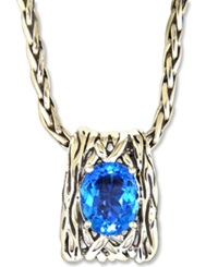 Effy Collection Balissima By Effy Blue Topaz Oval Weave Pendant 6 Ct. T.W. In Sterling Silver