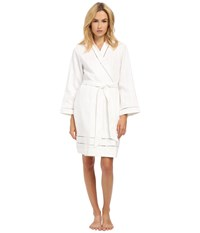 Oscar De La Renta Spa Brushed Cotton Stripe Waffle Short Robe White Women's Robe