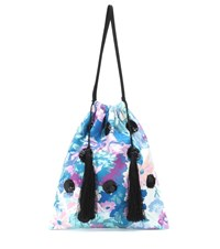 Attico Sequined Floral Pouch Blue