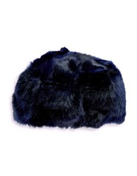 Adrienne Landau Rabbit Fur Hat Blue