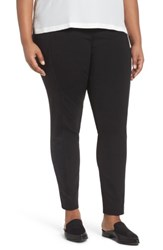 Lafayette 148 New York Plus Size Women's Knit And Faux Suede Leggings Black