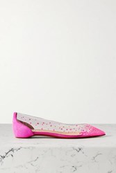 Christian Louboutin Degrastrass Embellished Pvc And Suede Point Toe Flats Fuchsia