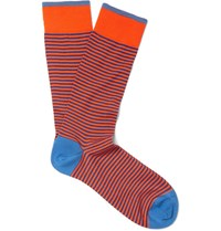 Marcoliani Striped Pima Cotton Blend Socks Orange