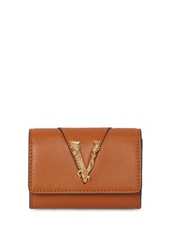 Versace Smooth Leather Coin Case Wallet Caramel