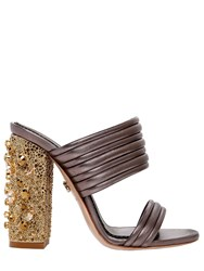 Le Silla 110Mm Quilted Leather Sandals W Crystals