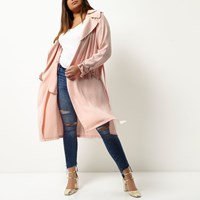 River Island Womens Plus Pink Tie Waist Duster Trench Coat
